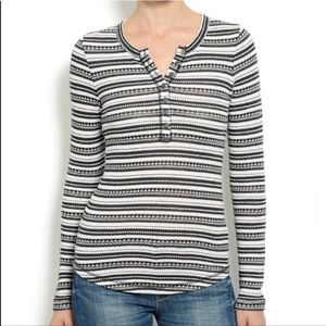 Lucky Brand :: striped Henley waffle knit thermal